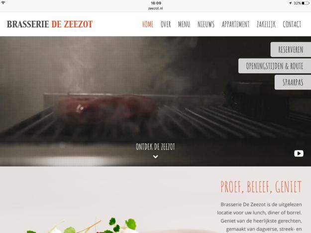 Aansprekend Webdesign Restaurant Zeeland Zeezot Ipad