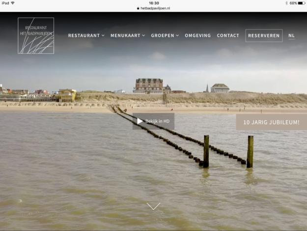 Website Ontwikkeling Zeeland Badpaviljoen Domburg Ipad