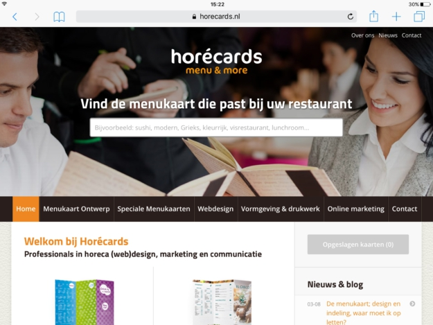 Horecards Ipad Webdesign Zeeland