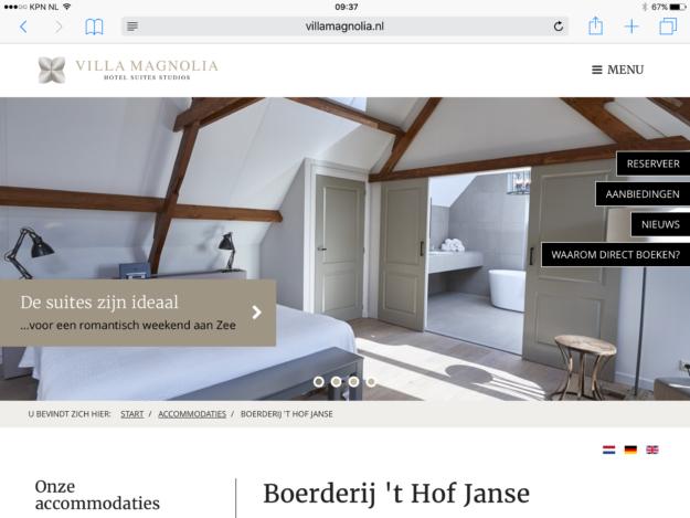 Villa Magnolia Responsive Webdesign iPad